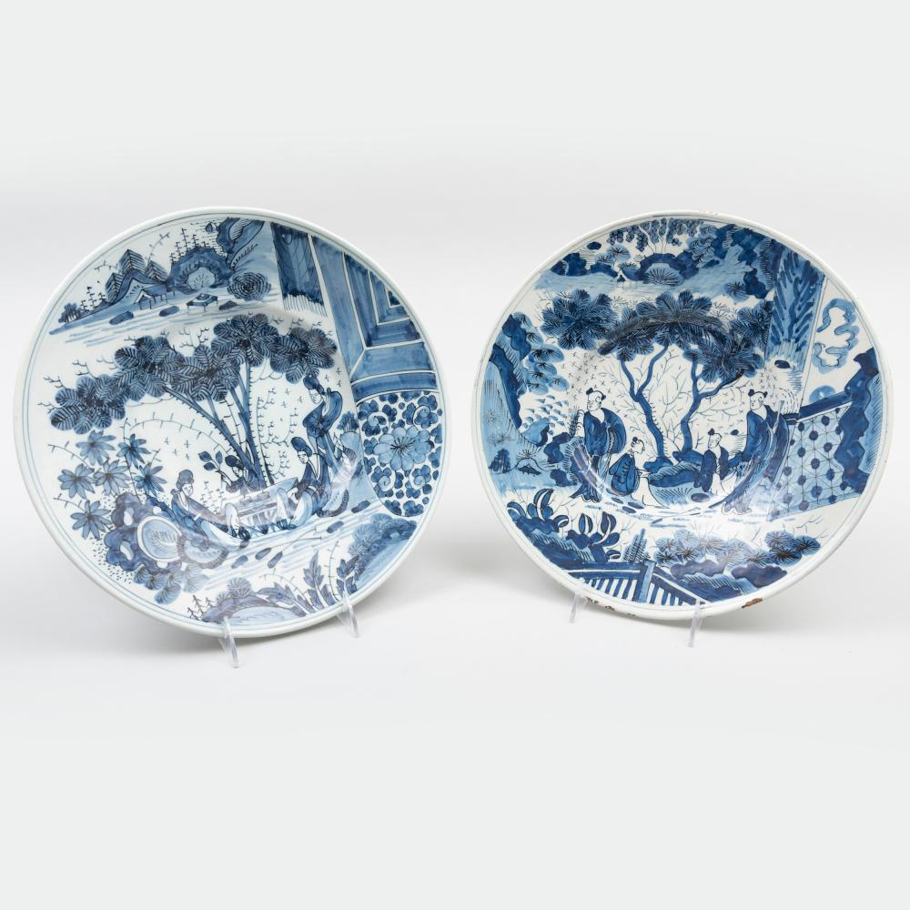 Two Similar Dutch Delft Blue and White Dishes