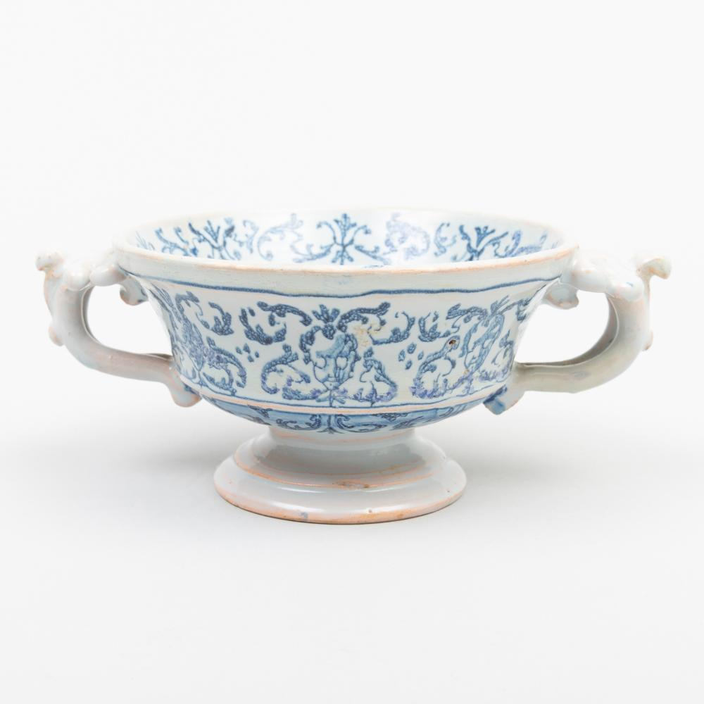 Dutch Delft or Italian Blue and White Two Handled Cup