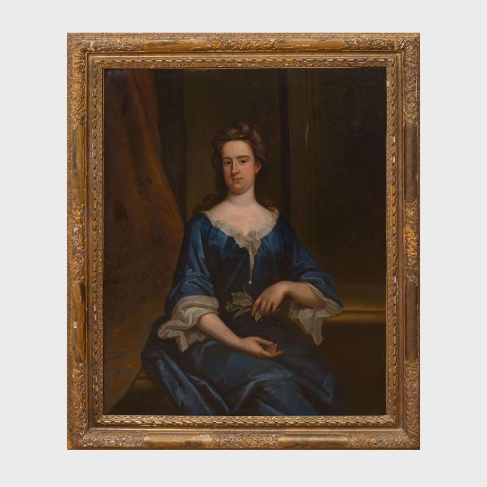 British School: Portrait of a Lady in Blue