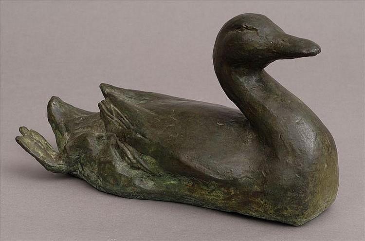 GEORG EHRLICH (1897-1966): BRONZE OF A SWIMMING DUCK