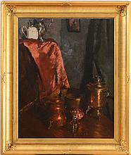 ATTRIBUTED TO WILLIAM MERRITT CHASE (1849-1916): STILL LIFE WITH BRASS SAMOVAR