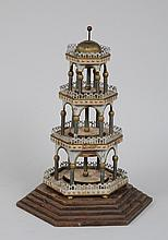 CONTINENTAL TÔLE PEINTE AND PAPER TIERED BELL-FORMED PAGODA