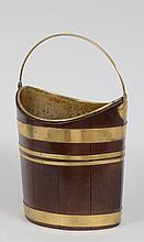 GEORGE III BRASS-BANDED MAHOGANY NAVETTE PEAT PAIL