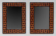 PAIR OF NEOCLASSICAL STYLE INLAID MAHOGANY MIRRORS