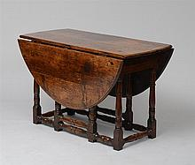 WILLIAM AND MARY CARVED OAK GATELEG TABLE