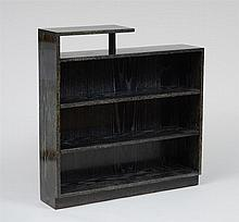 ART MODERNE BLACK CERUSED OAK BOOKCASE