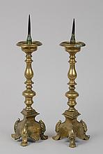 PAIR OF FLEMISH BAROQUE BRASS PRICKET STICKS