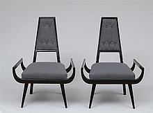 PAIR OF MODERN EBONIZED WOOD ARMCHAIRS, 1970'S