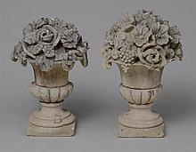 ASSEMBLED PAIR OF LOUIS XVI STYLE CAST STONE GARDEN URNS