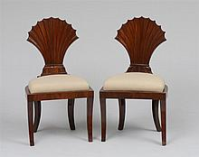 PAIR OF BIEDERMEIER CARVED MAHOGANY SIDE CHAIRS