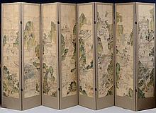 CHINESE SCHOOL WATERCOLOR AND INK ON SILK, NOW MOUNTED AS AN EIGHT-PANEL SCREEN, 19TH CENTURY