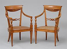 PAIR OF ITALIAN NEOCLASSICAL CARVED FRUITWOOD ARMCHAIRS