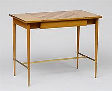 PAUL MCCOBB BRONZE-MOUNTED BLEACHED MAHOGANY AND ROSEWOOD GAMES TABLE