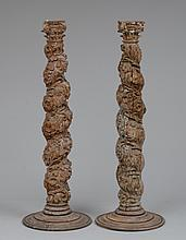 PAIR OF ITALIAN BAROQUE CARVED WOOD COLUMNS