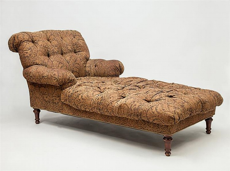 Victorian style button tufted mahogany chaise longue for Button tufted chaise