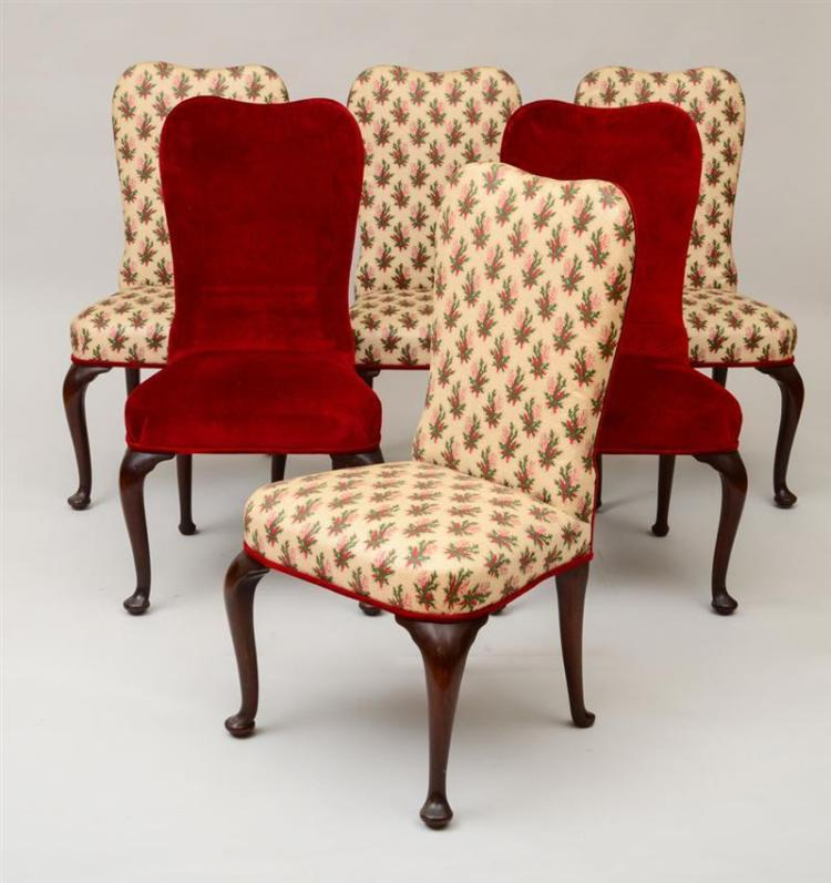 Queen Anne Dining Room Chairs: SIX QUEEN ANNE STYLE MAHOGANY DINING CHAIRS