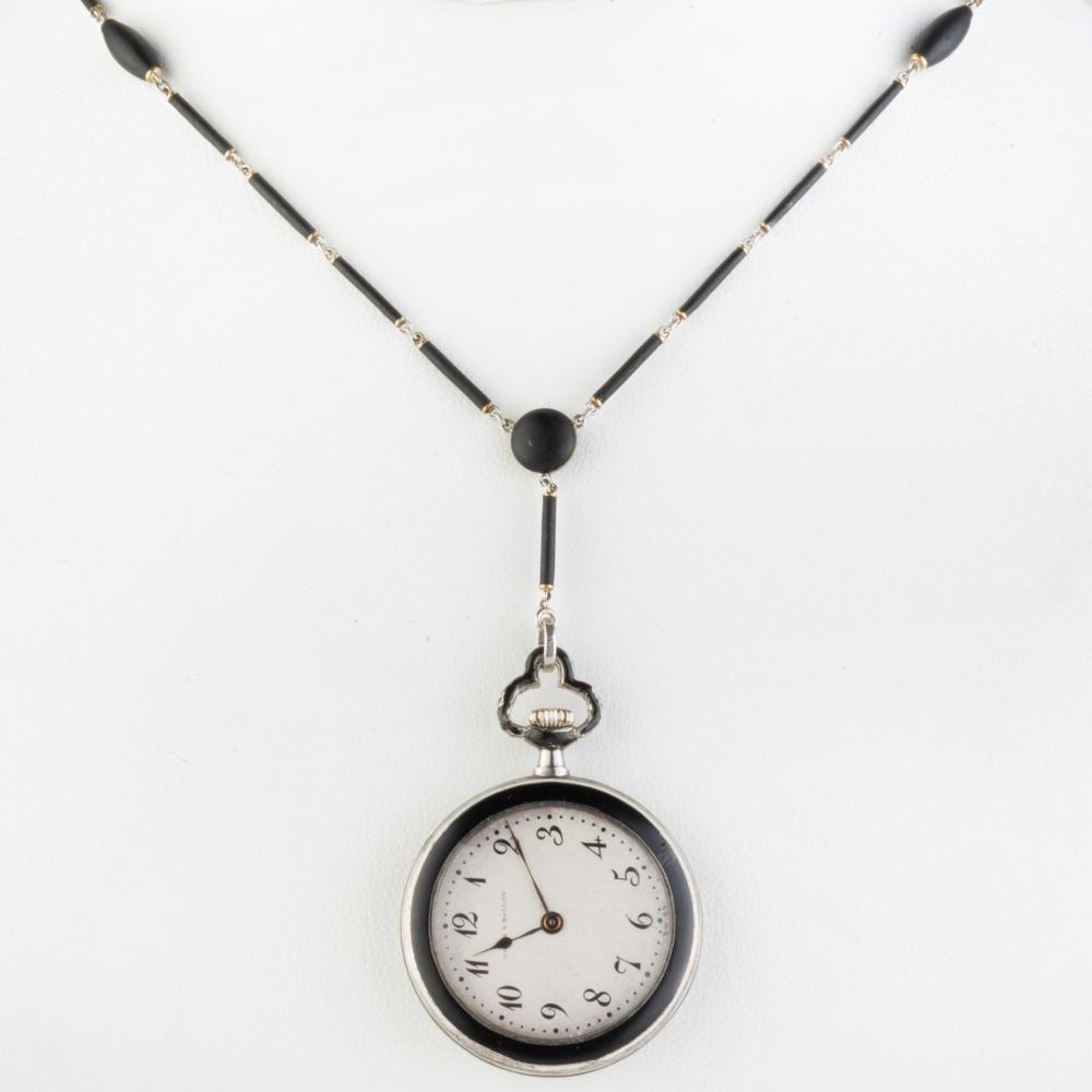 Udall & Ballou Lady's Art Deco Lapel Watch Necklace