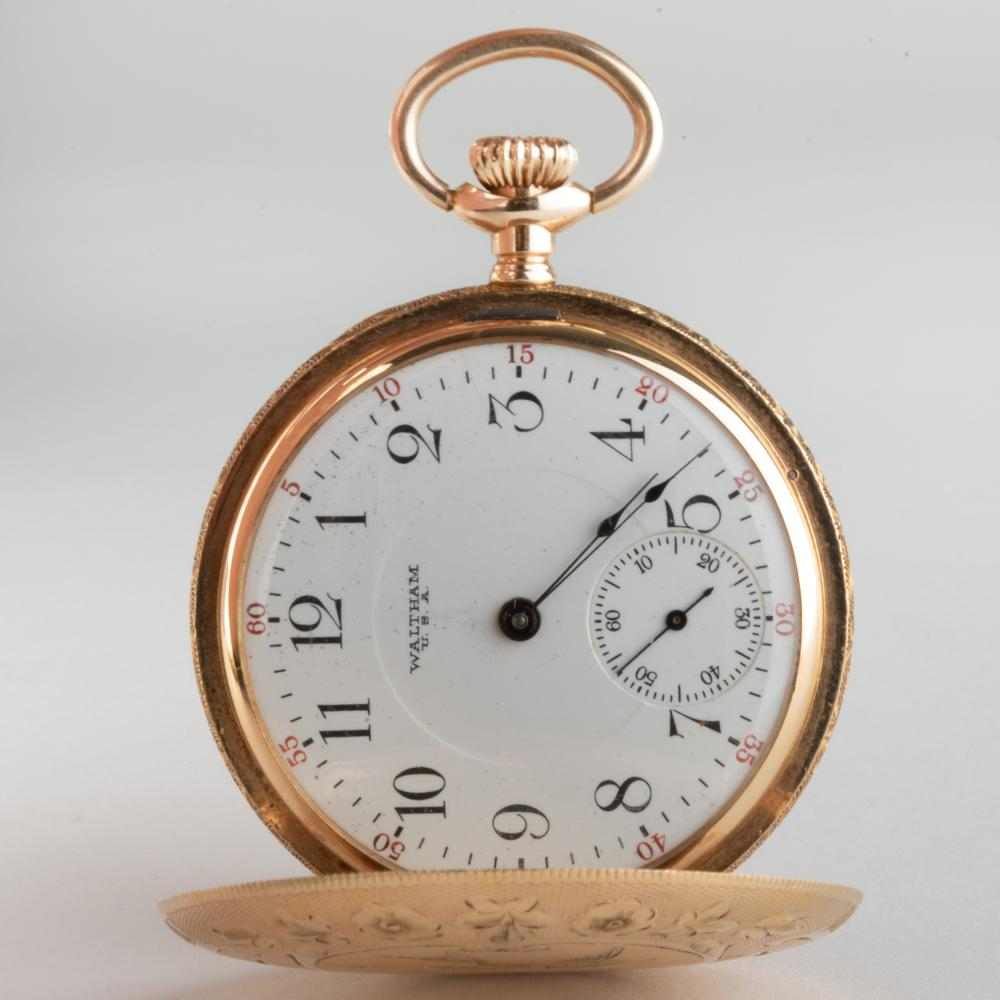 B.W.C. Co. 14K Gold Engraved Pocket Watch, Movement by Waltham