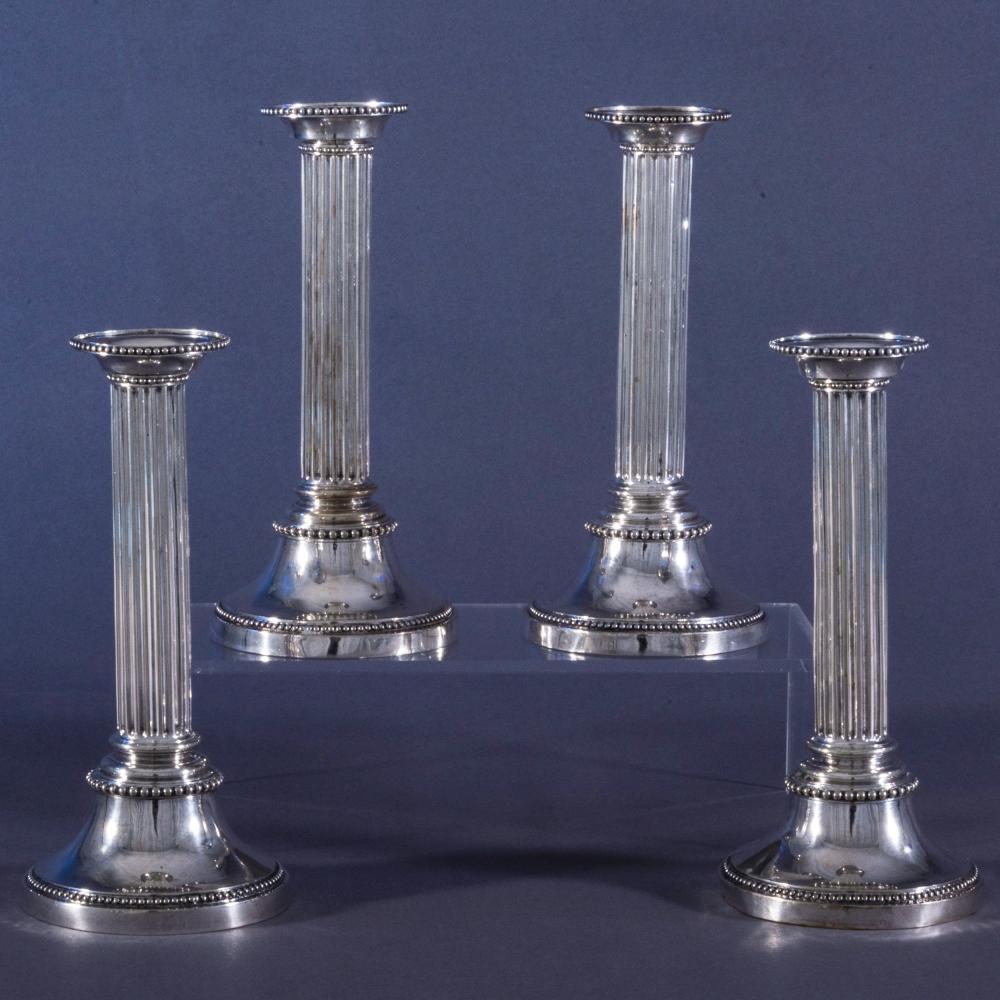 Set of Four Swedish Christian VII Silver Columnar Candlesticks