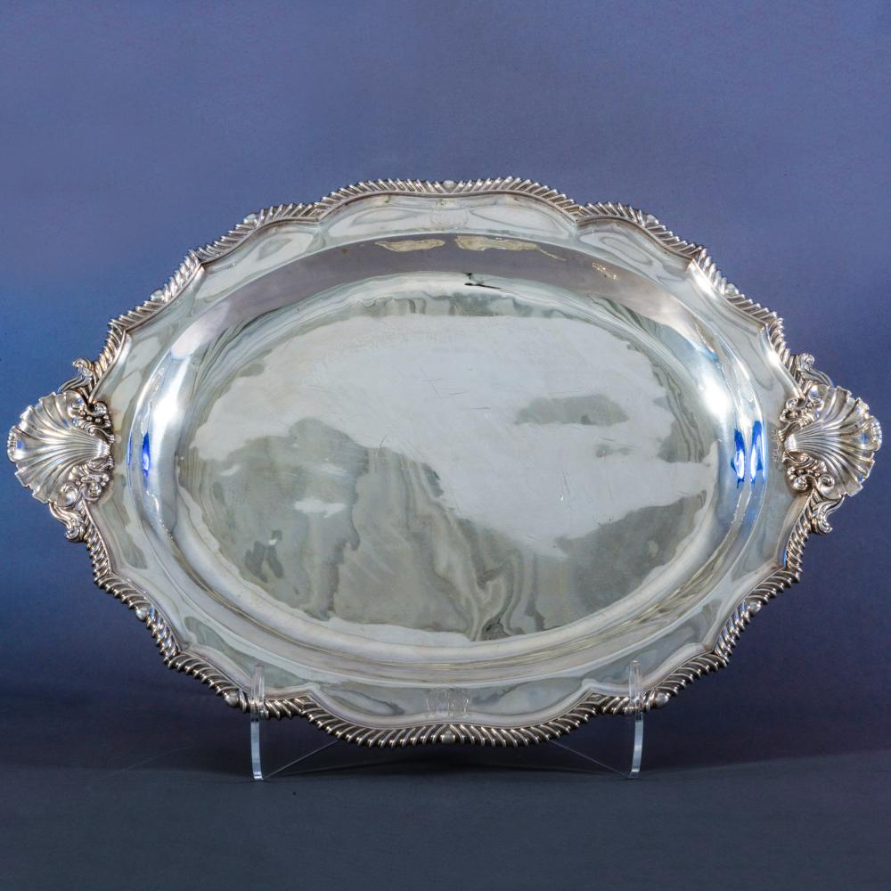 George IV Silver Armorial Meat Platter on Four Paw Feet