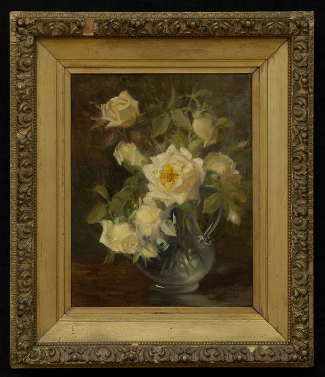 JULIA MCENTEE DILLON (1834-1918), STILL LIFE WITH YELLOW ROSES