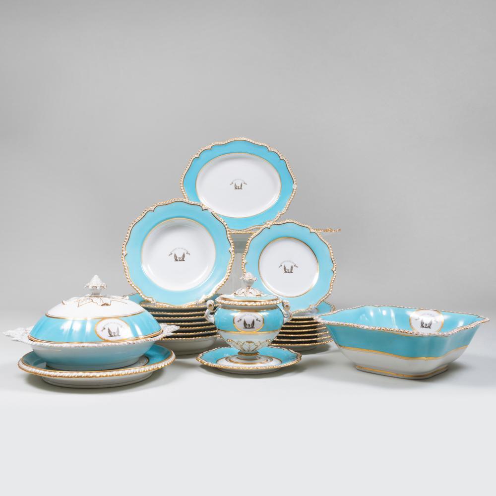 Flight, Barr & Barr Turquoise Ground Porcelain Armorial Part Dinner Service
