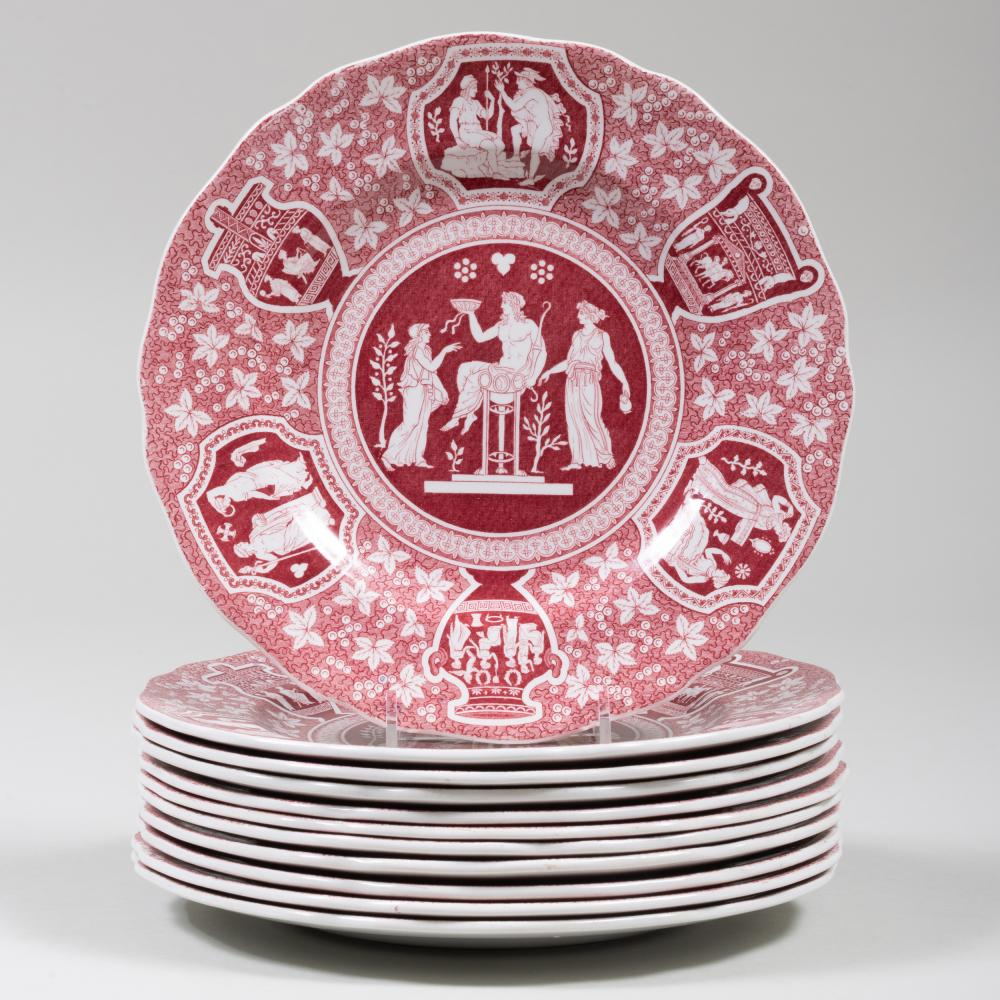 Set of Eleven Copeland Spode Red Transfer Printed Lunch Plates in the 'Greek' Pattern