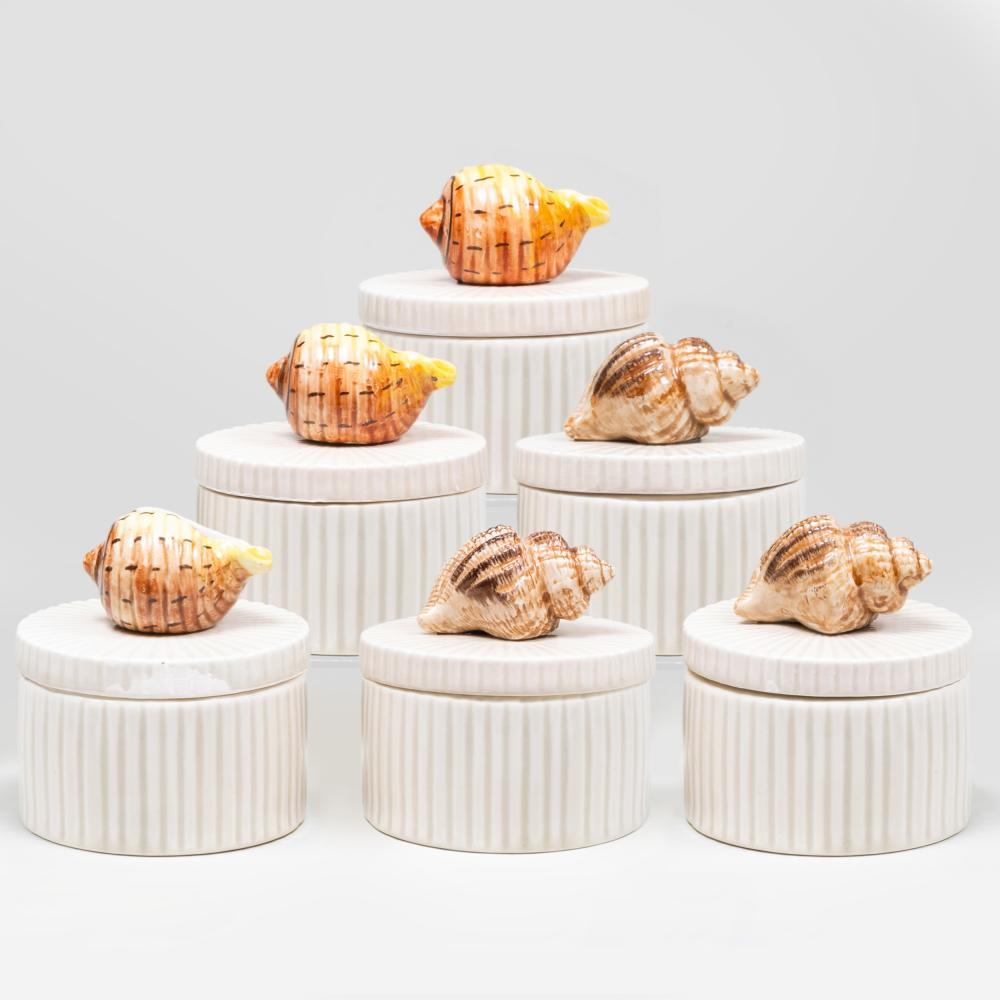 Set of Six Fitz & Floyd Porcelain Shell Finial Boxes