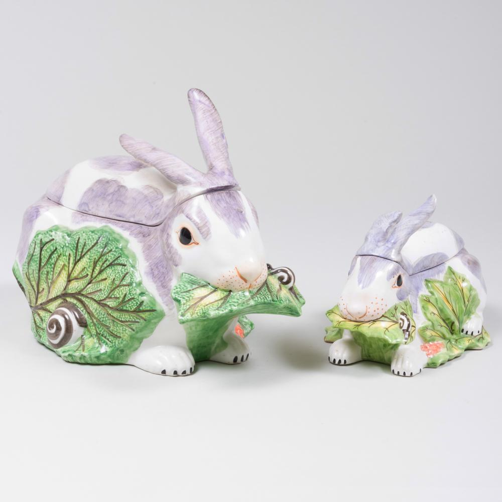 Two Italian Porcelain Bunny Form Tureens and Covers