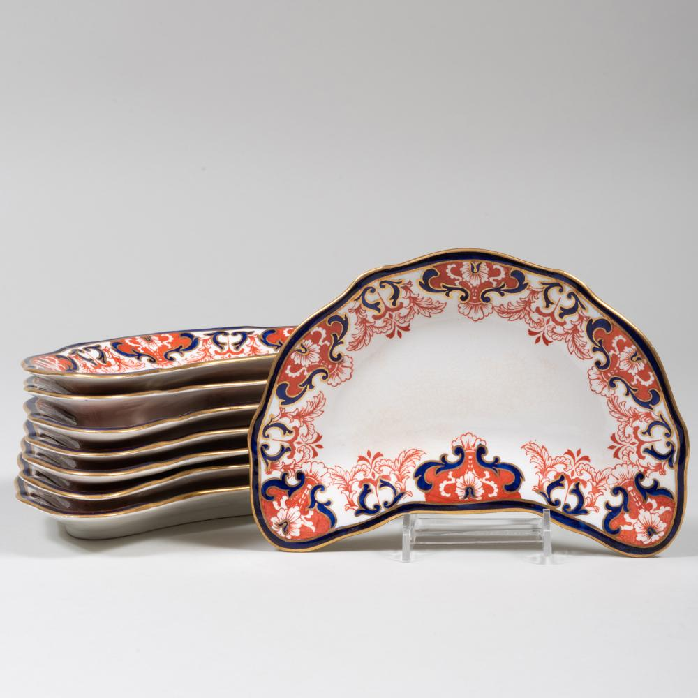 Set of Eight Royal Crown Derby Porcelain Crescent Shaped Plates in the 'Kings' Pattern