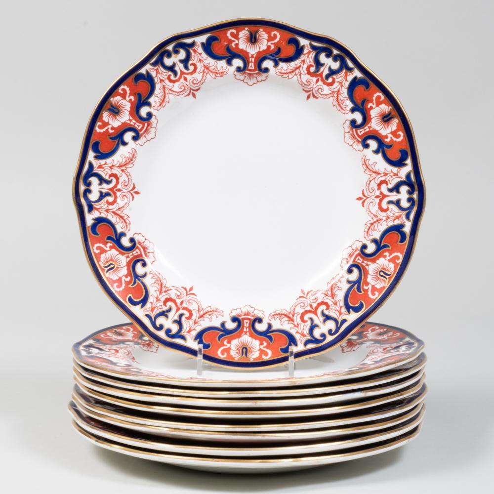 Set of Nine Royal Crown Derby Porcelain Dinner Plates in the 'Kings' Pattern