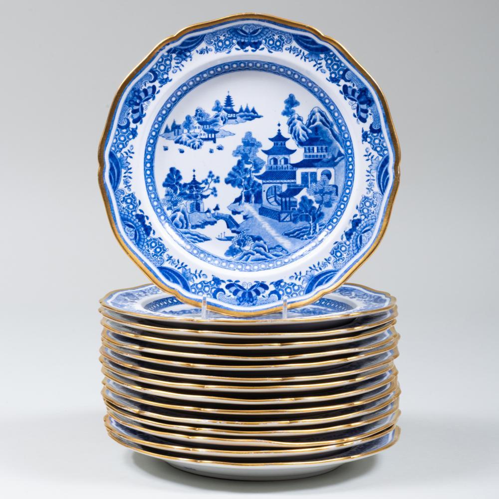Set of Fourteen Spode Transfer Printed Dinner Plates