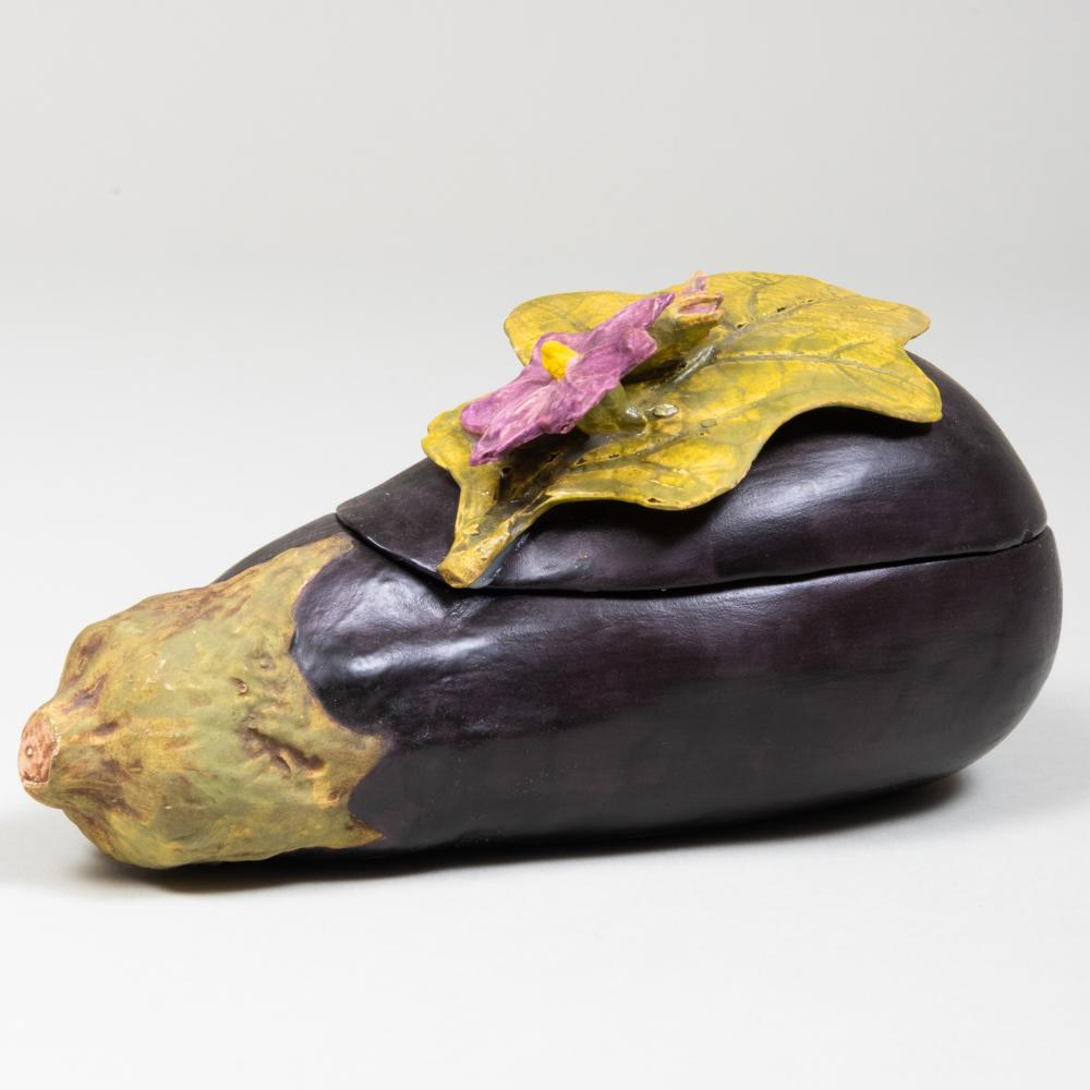 Mary Kirk Kelly Porcelain Eggplant Form Box and Cover