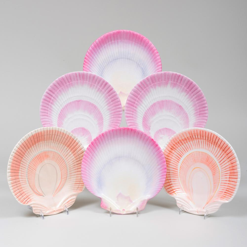 Assembled Set of Six Porcelain Shell Shaped Dessert Plates