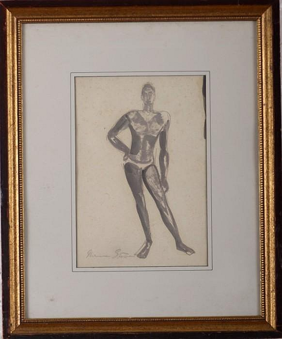 Maurice Sterne (American, 1878-1957): Untitled (Standing Figure of a Man)