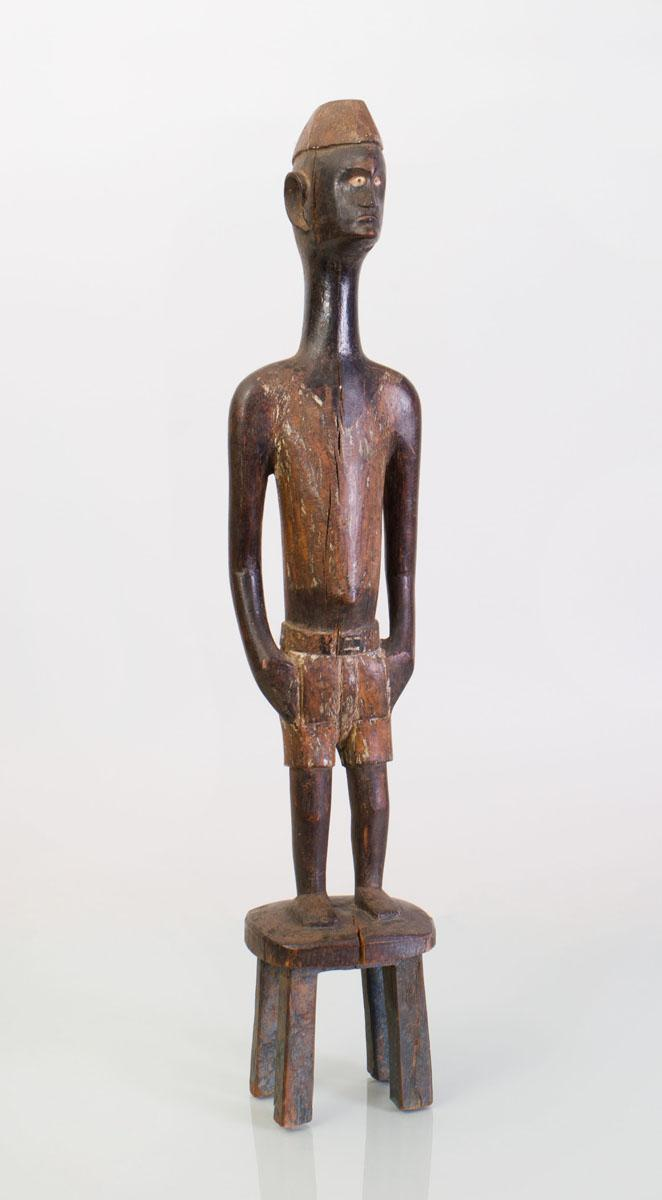 AFRICAN CARVED AND PAINTED WOOD STANDING FIGURE
