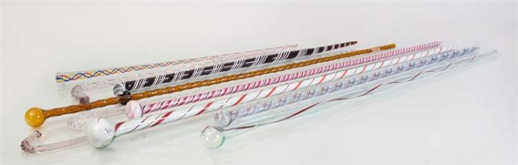 GROUP OF NINE APPLIED AND INTERNALLY-DECORATED GLASS CANES