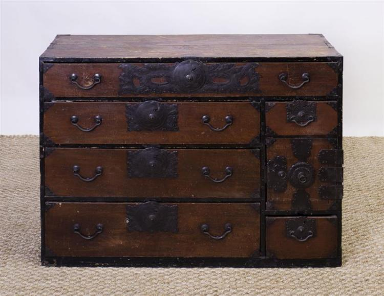 KOREAN IRON-MOUNTED HARDWOOD TANSU CHEST