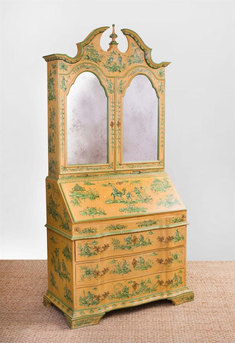 ITALIAN ROCOCO STYLE GILT-METAL-MOUNTED PAINTED SECRETARY BOOKCASE