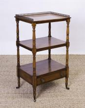 ENGLISH FRUITWOOD THREE-TIERED WHAT-NOT