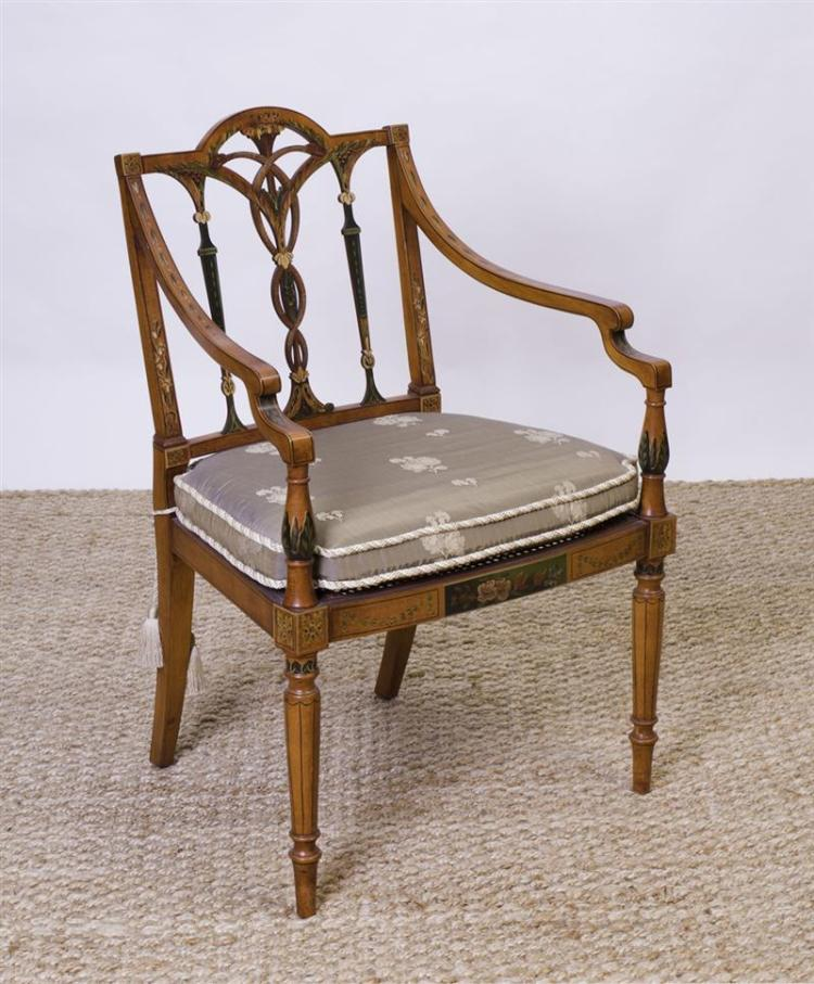 EDWARDIAN STYLE PAINTED SATINWOOD AND CANED ARMCHAIR