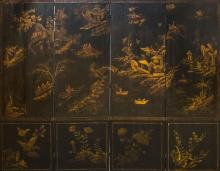 CHINESE EXPORT STYLE BLACK LACQUER FOUR-PANEL SCREEN
