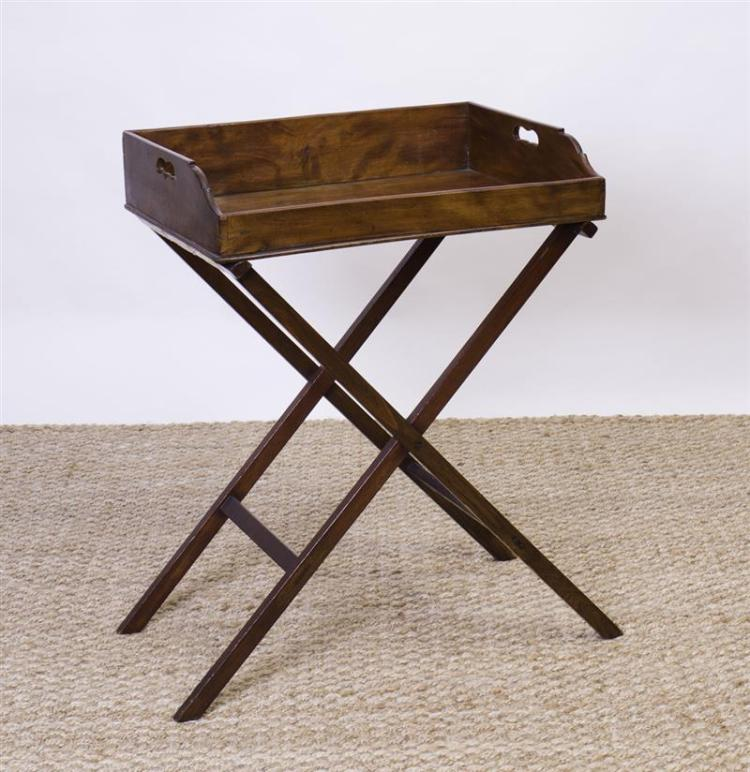 GEORGE III STYLE MAHOGANY BUTLER'S TRAY ON STAND
