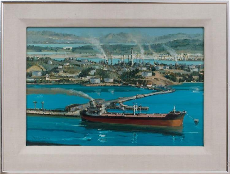 PATRICK DULLANTY (1927-2004): OIL TANKER UNLOADING CRUDE OIL