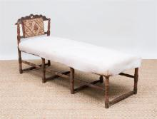 TURKISH CARVED AND PAINTED HARDWOOD DAYBED
