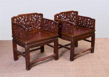 PAIR OF CHINESE PAINTED HARDWOOD THRONE CHAIRS