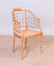 REGENCY STYLE FAUX BAMBOO AND CANED DESK CHAIR