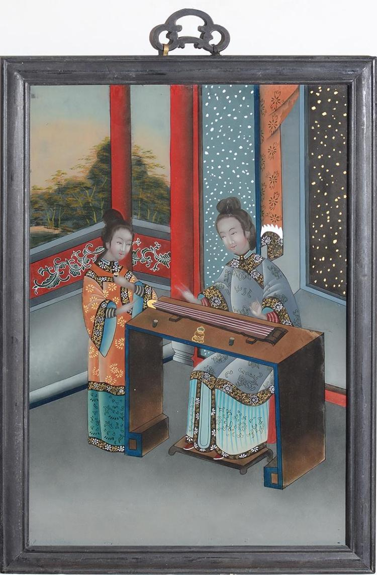 THREE CHINESE EXPORT REVERSE-PAINTINGS ON GLASS