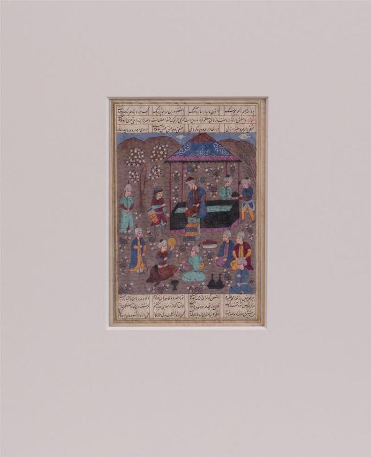 TWO PERSIAN ILLUMINATED MANUSCRIPT PAGES