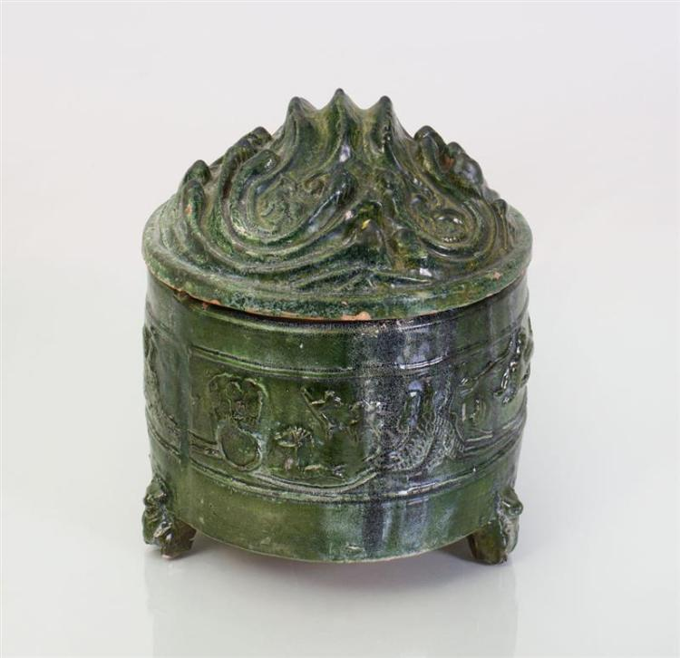 CHINESE GREEN GLAZED HAN POTTERY HILL JAR WITH COVER